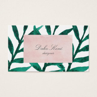 Minimalist green leaves business card