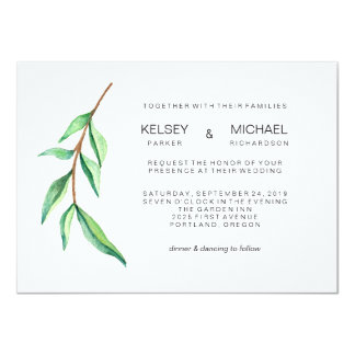 Minimalist Green Leaves Modern Wedding Invitation
