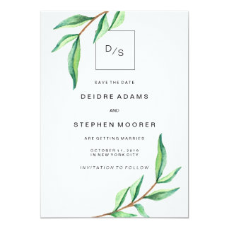 Minimalist Green Leaves on White Save the Date Card