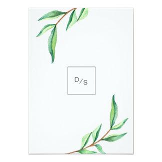 Minimalist Green Leaves on White Wedding 13 Cm X 18 Cm Invitation Card