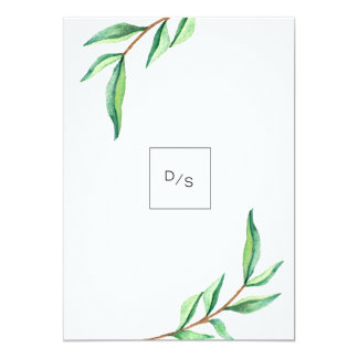 Minimalist Green Leaves on White Wedding Card