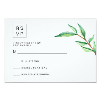 Minimalist Green Leaves on White Wedding RSVP 9 Cm X 13 Cm Invitation Card