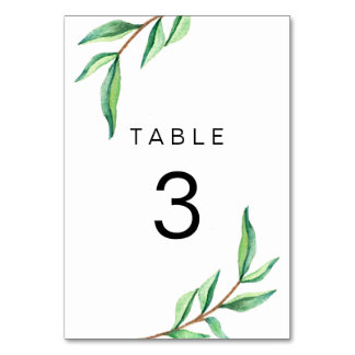Minimalist Green Leaves on White Wedding Table Cards