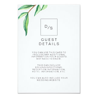 Minimalist Green Leaves Wedding Guest Details Card