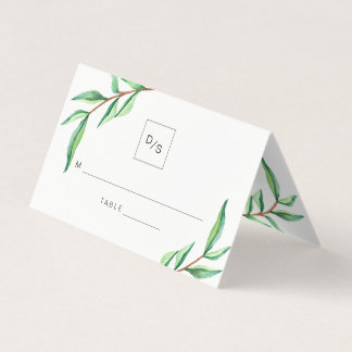 Minimalist Green Leaves Wedding Place Card