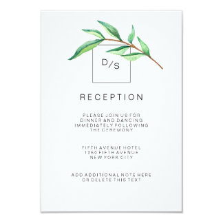 Minimalist Green Leaves Wedding Reception Card