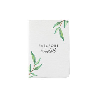 Minimalist Green Watercolor Botanical Leaves Passport Holder