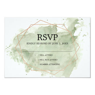 Minimalist Green Watercolor  RSVP Card