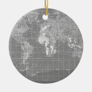 Minimalist Grey Vintage World Map Christmas Ornament