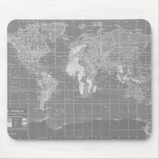 Minimalist Grey Vintage World Map Mouse Mat