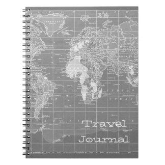 Minimalist Grey Vintage World Map Notebooks