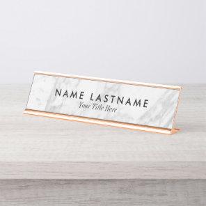 Minimalist Grey White Marble Custom Desk Nameplate