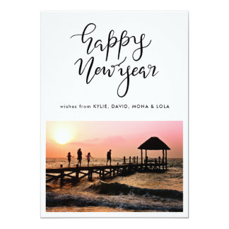 Minimalist Happy New Year Typography Script Photo Card