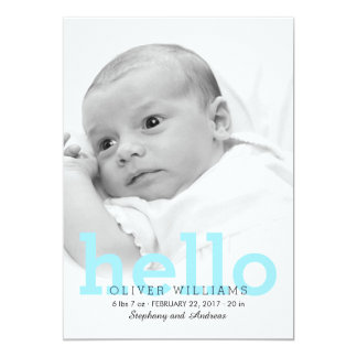 Minimalist Hello Baby Birth Photo Announcement