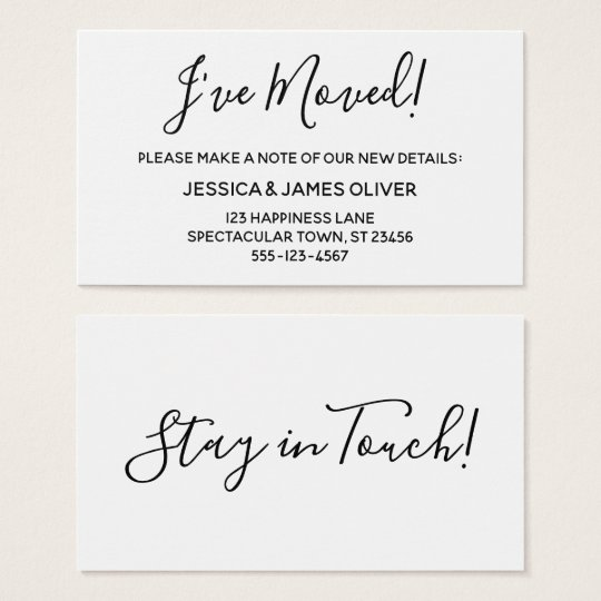"Minimalist ""I've Moved"" Card on Editable White"