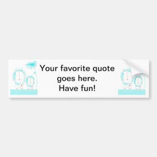 Minimalist Lion - Aqua and White Bumper Sticker