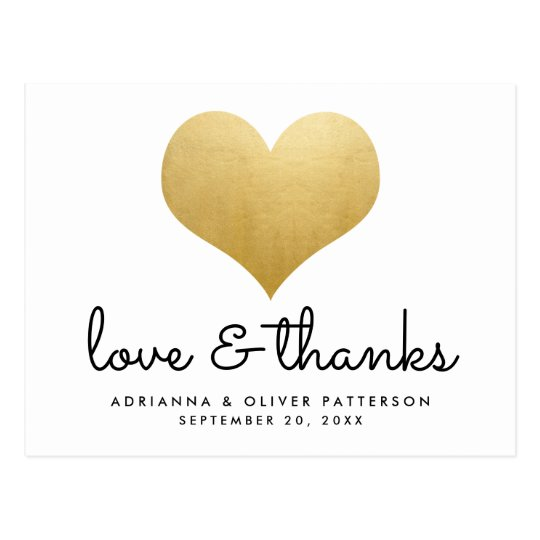 Minimalist Love And Thanks Faux Gold Foil Heart