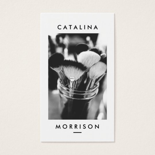 Minimalist Makeup Artist Brushes Photo Business Card