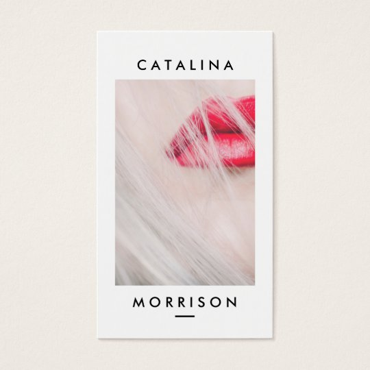 Minimalist Makeup Artist Red Lips Photo Business Card