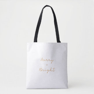 Minimalist 'Merry + Bright' tote | Gold