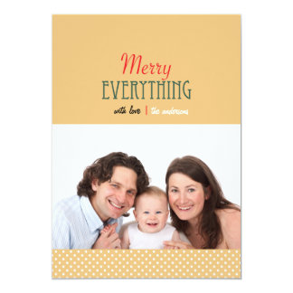 Minimalist Merry Everything Polka Dots Photo Card 13 Cm X 18 Cm Invitation Card