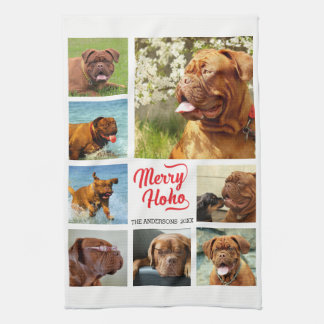 Minimalist Merry Ho Ho 8 Photo Template Tea Towel