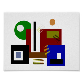 Minimalist Modern Abstract Shapes Colors and Lines Poster