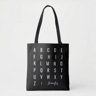 Minimalist Modern Black and White Alphabet Tote Bag