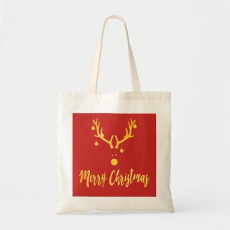 Minimalist modern Christmas gold reindeer red Tote Bag