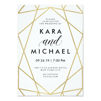 Minimalist Modern Faux Gold on White 13 Cm X 18 Cm Invitation Card