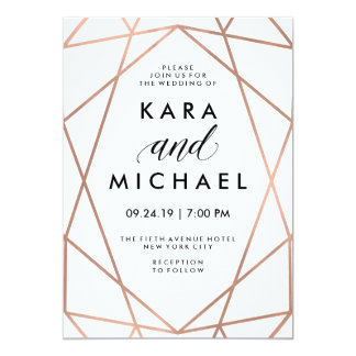 Minimalist Modern Faux Rose Gold on White 13 Cm X 18 Cm Invitation Card