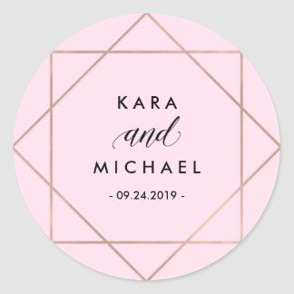 Minimalist Modern Geometric Blush Pink Wedding Classic Round Sticker