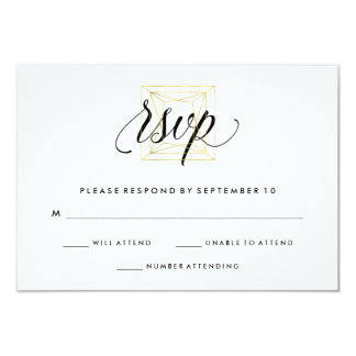 Minimalist Modern Geometric Diamond Faux Gold RSVP Card