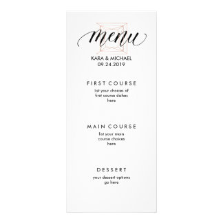Minimalist Modern Geometric Diamond Wedding Menu Personalized Rack Card