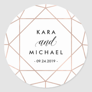 Minimalist Modern Geometric Diamond Wedding Round Sticker