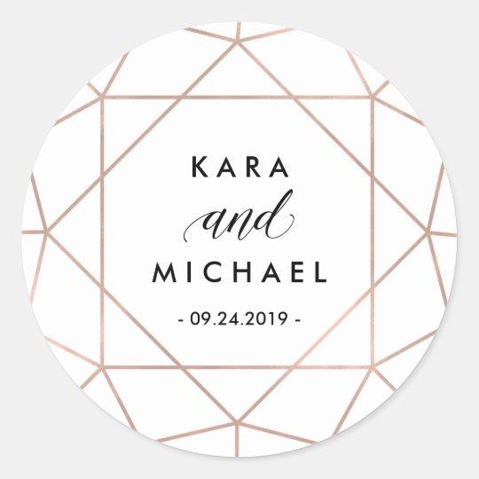 Minimalist Modern Geometric Diamond Wedding Round Sticker