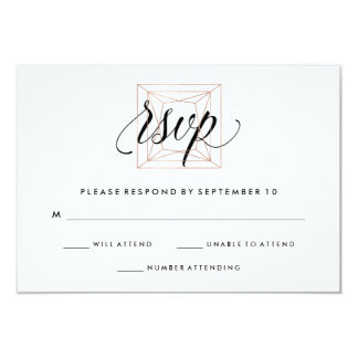 Minimalist Modern Geometric Diamond Wedding RSVP Card