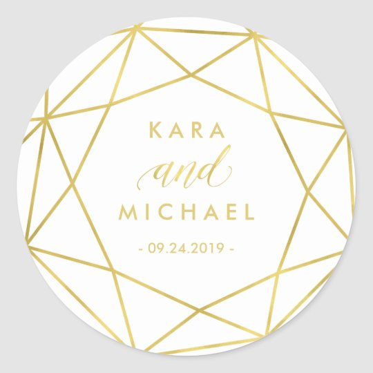 Minimalist Modern Gold Geometric Diamond Wedding Classic Round