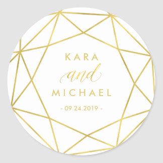 Minimalist Modern Gold Geometric Diamond Wedding Round Sticker