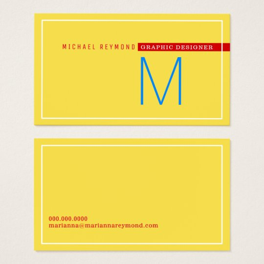 minimalist & modern, graphic designer yellow business card