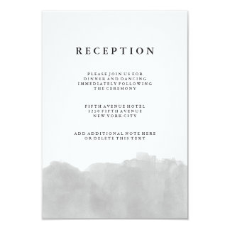 Minimalist Modern Gray Watercolor Reception Card