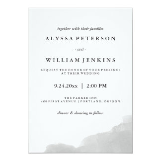 Minimalist Modern Gray Watercolor Splash 13 Cm X 18 Cm Invitation Card