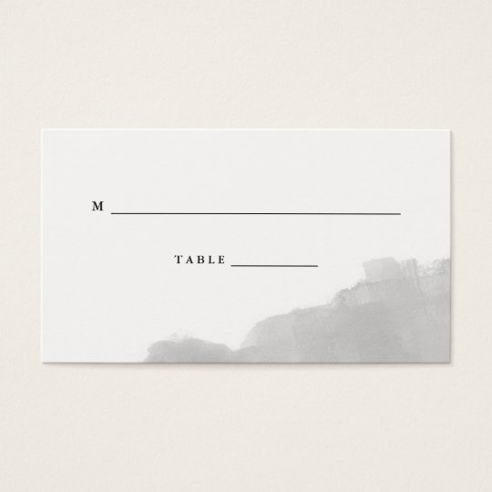 Minimalist Modern Grey Watercolor Wedding Escort Business Card