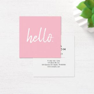 Minimalist Modern Handwritten Brush Hello Pink Square Business Card