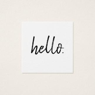Minimalist Modern Handwritten Brush Hello Square Business Card