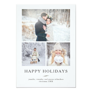 Minimalist Modern Happy Holidays | Three Photos Card