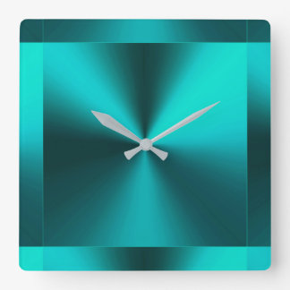 Minimalist Modern Metallic Teal Blue Green Square Wall Clock