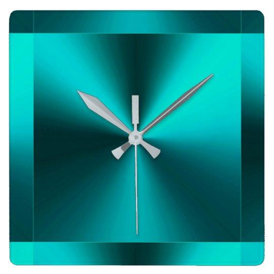 Minimalist Modern Metallic Teal Blue Green Square Wall