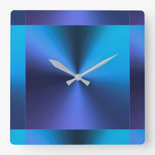Minimalist Modern Metallic Turquoise Blue Square Wall Clock