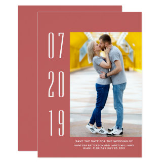 Minimalist Modern Photo Save the Date | Red Card